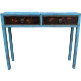 Blue 2-Drawer Hallway Table