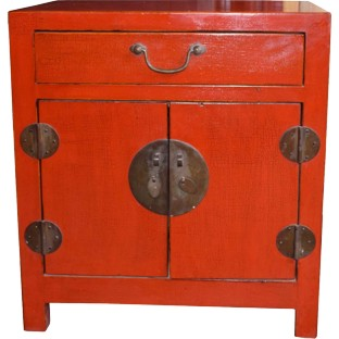 Red Lacquered High Bedside Table