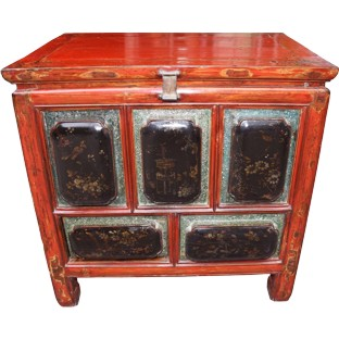Antique Red Chest Trunk
